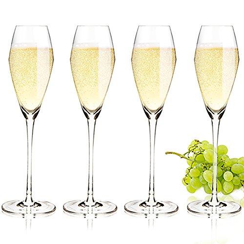 AIMONLIE Champagnergläser, Sektkelche, Sektgläser Sets, 300ml, 4er Set Champagner Sektschalen, Wie mundgeblasen, Transparent Kristallglas, Hochwertige Qualität