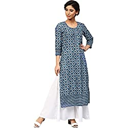 Amayra Women Cotton Blue Printed Straight Kurti(XX-Large,Blue)