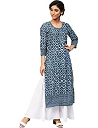Amayra Women's Cotton Blue Printed Straight Kurti