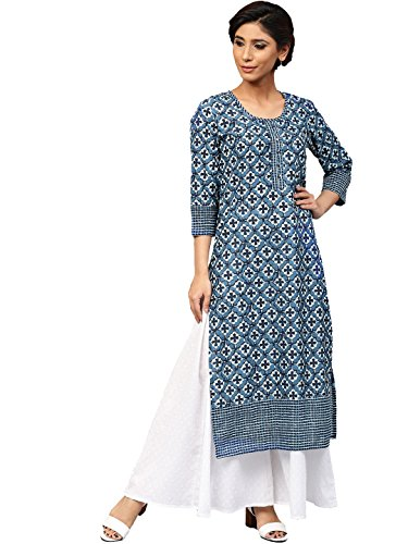 Amayra Women Cotton Blue Printed Straight Kurti(Medium,Blue)