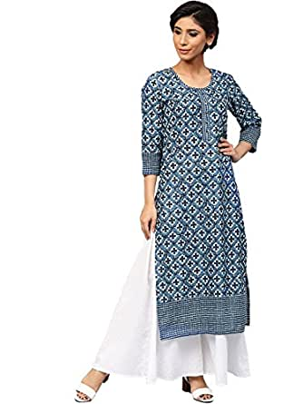 Amayra Women Cotton Blue Printed Straight Kurti(Small,Blue)