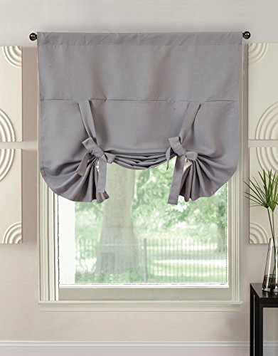 Happy Lily Roman Thermal Insulated Blackout Curtain Room Darkening Roman Shade Blackening Blinds Tie Up Shades For Kitchen Bedroom Small Windows Rod Pocket Panel 46 W X 63 L Dark Grey Buy Online