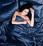 Satin-Bettbezug für Einzelbetten, Marineblau, 4 Stück CoverAdult Bettwäsche Set