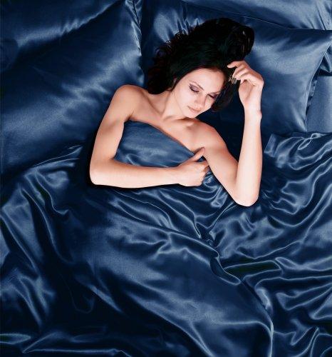 Seiden-satin-bettwäsche (Bettwäsche für Einzelbett, komplettes Set, 4-teilig, Satin, marineblau)