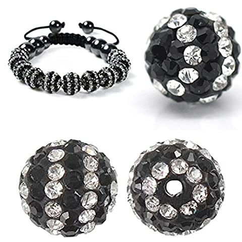 RUBYCA 50pcs Stripes Disco Ball Clay Beads 10MM Inlaid Czech Crystal fit Shamballa Black and White by RUBYCA