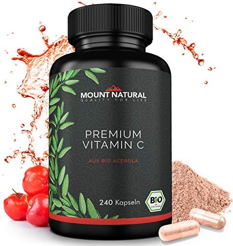 BIO Vitamin C Aus Natürlichem Bio Acerola Extrakt - 240 Vegane Kapseln Für 4 Monate + Natürliche Bioflavonoide & Laborgeprüft Aus Deutschland (C Bioflavonoide Vitamin)