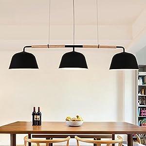 HJXJXJX Holz LED Anhänger Lampen Minimalismus Restaurant Kronleuchter  Hängende Ligh Höhe Einstellbar E27 * 3 [