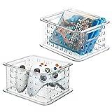 mDesign Panier de Rangement Lot de 2 empilable for DVD, Jeux vidéo et Plus Encore - Petit, Transparent