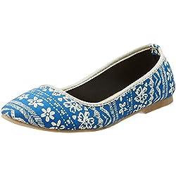 Kanvas Katha Women's Blue Ballet Flats - 5 UK/India (38 EU)(KKFTPS00705)