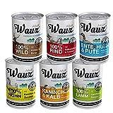 MAUZ & WAUZ: Hundefutter Nass Mix (6 Sorten | 2,4 kg | hoher Fleischanteil) Premium Nassfutter für alle Rassen, getreidefreies Alleinfuttermittel (6 x 400 g (2,4 kg))