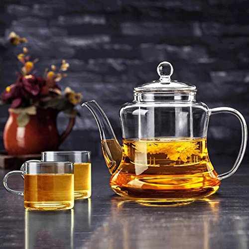 Théière en Verre Ménage résistant à la Chaleur Thé Verre résistant à la Chaleur Grand Filtre Set thé 800 ML 2 Tasses GAODUZI (Style : B)