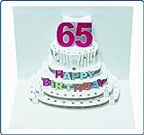 Pop Up 3D Karte Geburtstagskarte 65 Geburtstag Gutschein Torte 16x11cm