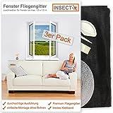 Fenster Fliegengitter von INSECT-X (zuschneidbar für alle Fenster bis 130x150 cm Größe) Fliegennetz Gitter zum Schutz vor Insekten wie Fliegen und Mücken | 3er Pack - hochwertig - durchsichtig | Insektenschutz Fliegenschutz Mückenschutz Netz