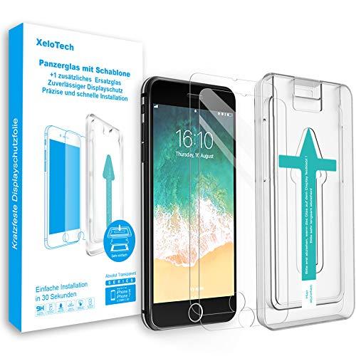 XeloTech Premium Schutzglas kompatibel mit iPhone 8/7 (2 Stück) mit Schablone für hohe Passgenauigkeit - Unterstützt 3D Touch