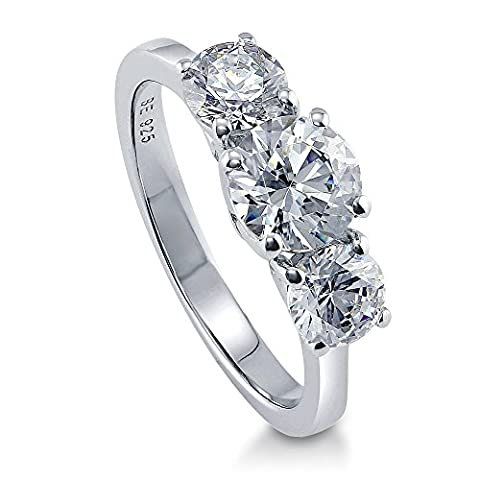 BERRICLE Rhodium Plated Sterling Silver 3-Stone Promise Ring Made with Swarovski Zirconia Size J