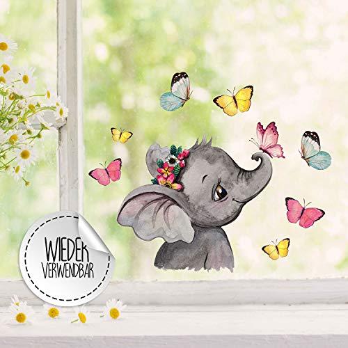 Fensterbilder Fensterbild Elefant Kopf seitlich mit Schmetterlinge wiederverwendbar Frühling Frühlingsdeko Fensterdeko bf49 - ausgewählte Farbe: *bunt* ausgewählte Größe: *3. Elefantenkopf*