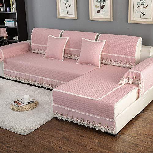 ZTMN Stretch Sofabezüge, Moderne Anti-Rutsch-Sofa Schonbezüge Möbel Protector verdicken Couch Cover Sectional Lounge Vier Jahreszeiten-rosa Kissenbezug 45x45cm (18x18inch) - Lounge-sectional