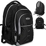 Monzana® Rucksack Damen Herren Schulrucksack Laptop Backpack Notebook Freizeitrucksack Bürorucksack Reiserucksack Wanderrucksack ✔wasserabweisend ✔Laptopfach bis 15 Zoll ✔bis 49 Liter ✔5 Zusatztaschen schwarz-grau