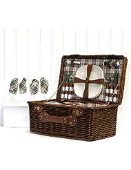 Bromley Contempo - Cesta de picnic de mimbre de color marrón oscuro, para 4personas, con compartimento refrigerante