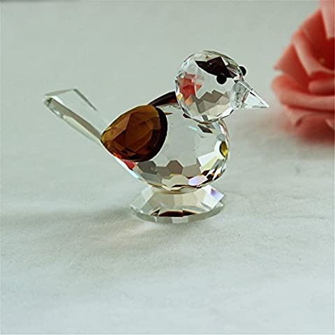 Crystal Glass Cute Sparrow Statue Animal Paper Heavy Art Collection Table Ornament Home Wedding Decoration Gift for