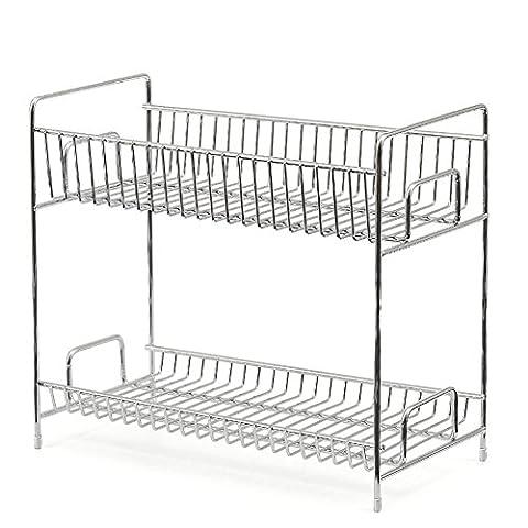 2-Tier Spice Rack, EZOWare Kitchen Countertop 2-Tier Storage Organizer Spice Jars Shelf Holder Rack - Chrome