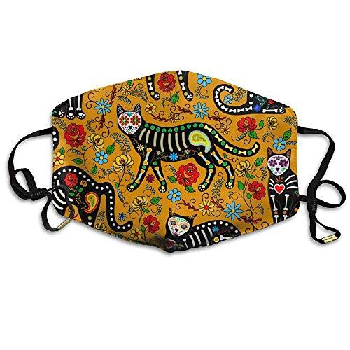 Unisex Calavera Cats And Sugar Skulls Comfortable Anti Dust Mouth-Muffle Masks Mouth Face Masks