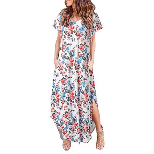 ♥ Loveso♥ Kleider Damen, Frauen Kurzarm Sommerkleid Strandkleider Blumenmuster Lang Maxi Kleid Asymmetrischer Saum Bohemien Maxikleid