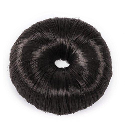 QHP Duttkissen Donut Deluxe Knotenrolle Haarknoten Knotenring blond braun schwarz (Schwarz)