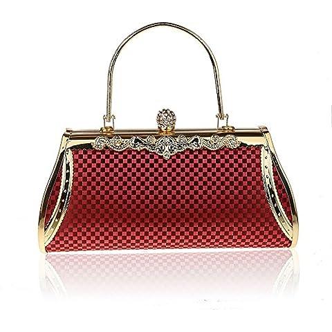 Sun lamps- Strass fibbia borsa pochette da sera di modo banchetto ( colore : Rosso )