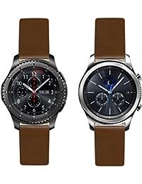 Francés–Correa de repuesto de piel color marrón correa para reloj para Samsung Gear S3frontera–Classic. Fabricado en Francia