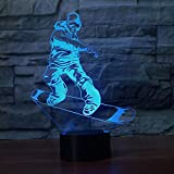 Snowboard Modèle 3D Veilleuse LED Illusion Ski Hommes Lampe LED 7 Couleurs Changement de couleur Usb Remote Touch Baby Sommeil Lampe Meilleur Cadeau Note...