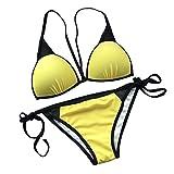 BFUSTYLE Womens Sexy Traje de Baño Amarillo Triángulo Acolchado Bikini Set de dos Piezas Tra...