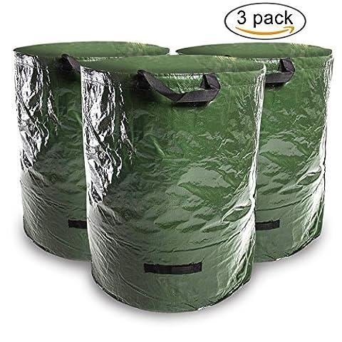 Nider Lot de 3sacs à déchets de jardin Heavy Duty Grand sac de jardin pour mauvaises herbes, feuilles, herbe–Tissu robuste en polypropylène