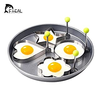 Romote -4pcs / set Edelstahl-Omelette Egg Frying Mold Liebe Blume Runde Stern Moulds