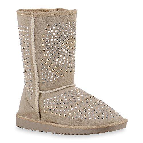 Damen Schuhe Schlupfstiefel Schlupfstiefel Schlupfstiefel Stiefel Winterstiefel Creme Strass  [B01MQBH929] 9e6a26