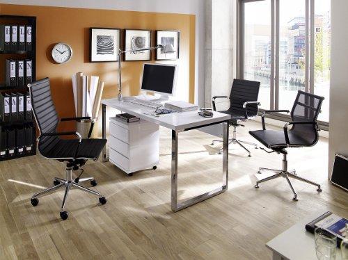 Robas Lund, Schreibtisch, Computertisch, Sydney III, Hochglanz/weiß/verchromt, 140 x 70 x 76 cm,  40121CW2 - 6
