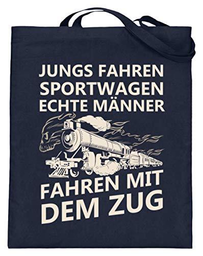 Lokomotive Shirt · Geschenk für Eisenbahn-Fans · Zug · Züge · Spruch: Echte Männer - Jutebeutel (mit langen Henkeln) -38cm-42cm-Deep Blue