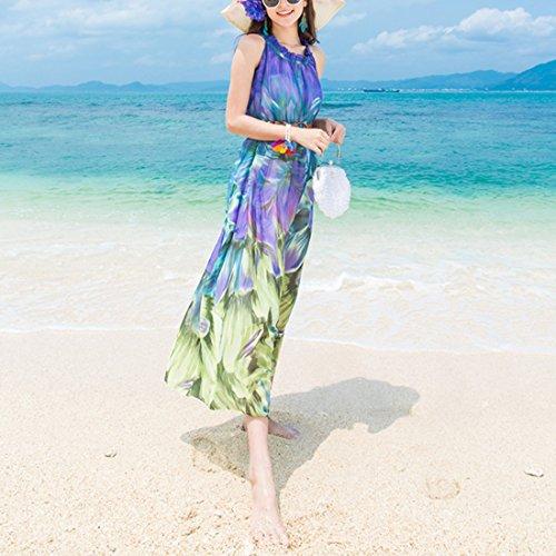 JXLOULAN Robe de plage Femmes d'été imprimées en mousseline de soie des robes Côtière Bohemian Jupes longues Bleu violacé Gradient