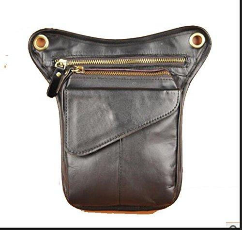 ZYT La Vintage Herren Leder westlichen Flut. kühlen Kopf Öl Handy Kamera im freien 8-Zoll-Taschen Black