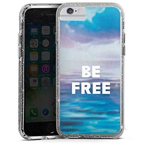 Apple iPhone 7 Plus Bumper Hülle Bumper Case Glitzer Hülle Freiheit Meer Mer Bumper Case Glitzer silber