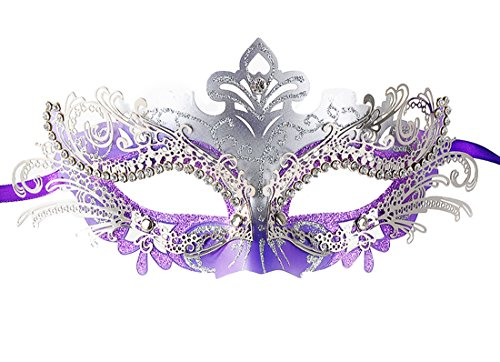 Coxeer Damen Maskerade Maske Schmetterling Form Laser Schneiden Metall Karneval Maske (Silver And (Masken Abschlussball Ball Maskerade Für)