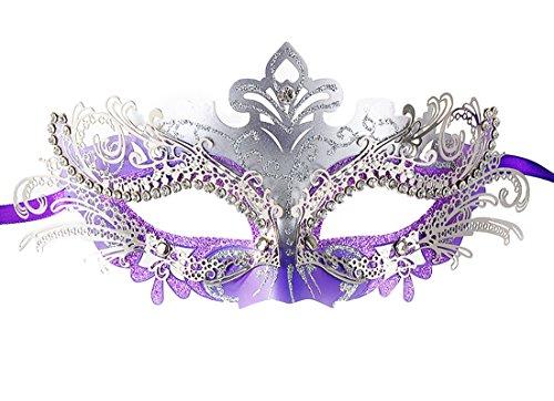 Coxeer Damen Maskerade Maske Schmetterling Form Laser Schneiden Metall Karneval Maske (Silver And (Masken Schmetterlings)