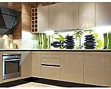 Küchenrückwand Folie selbstklebend ZEN STEINE 180 x 60 cm | Klebefolie - Dekofolie - Spritzchutz für Küche | PREMIUM QUALITÄT
