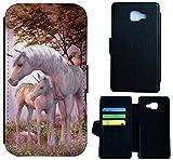 Hülle Flipcover Schutzhülle Cover Etui Wico Case für (Samsung Galaxy S4 Mini, 1535 Einhorn Fantasy Pferd Fohlen)