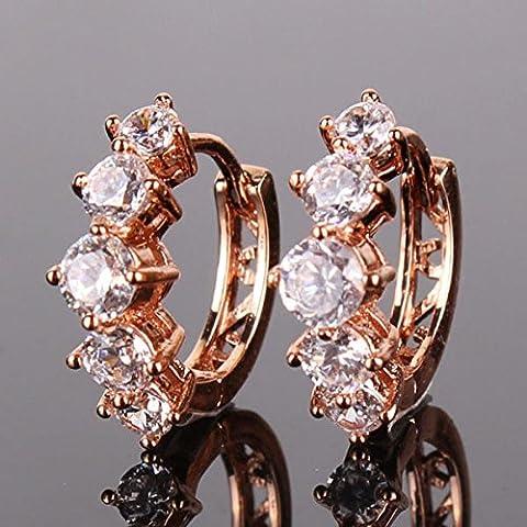 Special UK jewelry nuovo 2015Rosa 18K orecchini in oro bianco cristalli zirconi orecchini a cerchio per le donne e104d di alta qualità per donna
