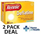 Rennie Deflatine Trapped Wind & Bloatedness Relief Tablets Sugar-Free Mint - 36 Tablets **2 PACK DEAL**