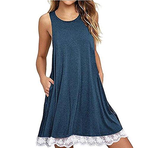 Damen ,Jaminy Frauen O-Ausschnitt Casual LACE Ärmelloses über Knie Kleid Lose Party Kleid Sommerkleid Minikleider Tunikakleid Bohemian Strandtunika (Blau, L)