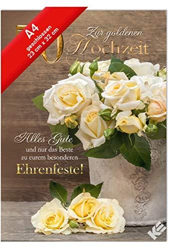 """Karte XXL zur goldenen Hochzeit""""Ehrenfeste"""" + Umschlag"""