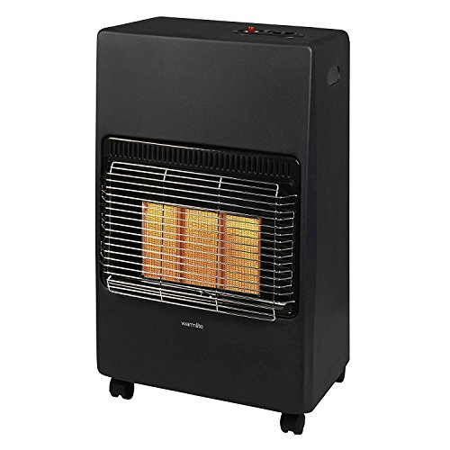 Warmlite Portable Gas Heater on Wheels with Anti-Tilt Device, Black
