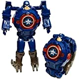 Hanumex® Captain America Transformer Robot Toy Convert to Digital Wrist Watch for Kids Avengers Robot Deformation Watch Captain America Figures Plus Watch